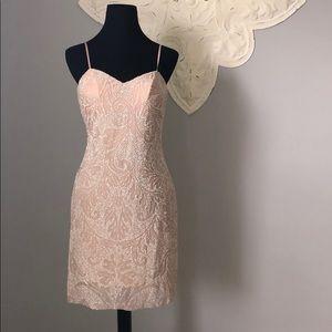 Moda international beige beaded dress